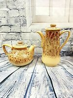 Vintage Fosters Cornwall Pottery Tea & Coffee Pot Honeycomb Glaze Shabby Chic