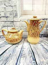 Vintage Fosters Cornwall Pottery Tea & Coffee Pot Honeycomb Glaze Shabby Chic