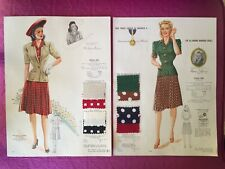 Original 1940s Vtg Fashion Frocks~Dress Square Fabric Sample Catalog Style Pages