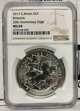 2017 Great Britain Britannia 20th Ann. Chariot 1 oz .999 Silver Coin - NGC MS 69