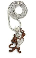 """NEW ICED OUT """" TONY THE TIGER """" PENDANT & 36"""" 4mm FRANCO CHAIN."""