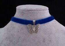 Tibetan Silver Butterfly Pendant Blue Velvet Choker Necklace.Handmade
