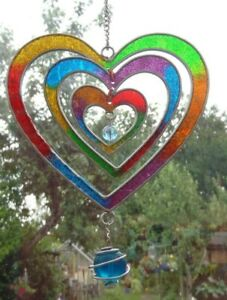 MULTI COLOURED HEART SUN CATCHER 24 cm long  STAINED GLASS EFFECT  with Hook