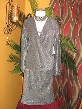 BISOU BISOU NWT $100 1X women's skirt & blouse black silver party disco
