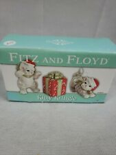 Christmas Fritz & Floyd Kitty Gray Ceramic Cat Figurines with Original Box
