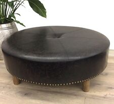 BRICE INDUSTRIAL LEATHER ROUND STOOL OTTOMAN SEAT CHAIR FOOT REST TIMBER FRAME