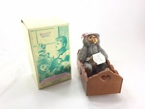 "Raikes Bear Nursey Miniatures 6"" Doll Original Box Alison With Cradle Wood"