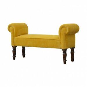 Velvet Mustard Coloured Low Ottoman Bedroom Bench