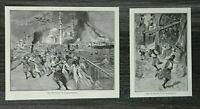 HO4) 2x Holzschnitt 1885-1900 Erdbeben Constantinopel Istanbul Türkei Hagia Soph