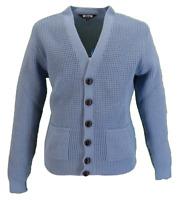 Classic Retro Waffle Knit Sky Blue CARDIGAN with Pockets