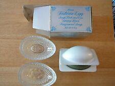 Avon Fostoria Egg Soap Dish And Spring Lilacs Soap w/ Box, Excellent Item