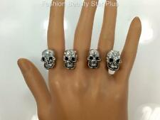 Crystal Multi Skull Knuckle Ring - Gold or Silver