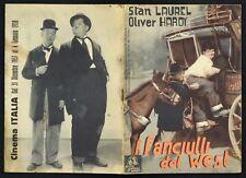 BROCHURE, I FANCIULLI DEL WEST Way Out West, S. LAUREL, O. HARDY, 1a ED. 1938!