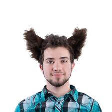 PAWSTAR Furry Wolf Ear Headband - Halloween Costume Dark Brown dog [BR]3066