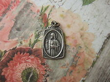 Vintage Catholic Medal Sacred Heart of Jesus Mary Scapular13x22mm silver finish