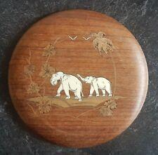 Vintage Round Inlaid Wooden Plaque