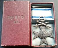✚7222✚ German WW1 Bavarian Military Merit Cross 3. Class with swords medal CASED