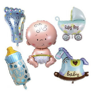 5pcs Baby Boy Shower Foil Balloons for Birthday Party and Decorations - Blue
