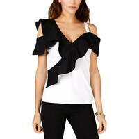 INC Women's Colorblock Ruffle Off-The-Shoulder Blouse Top Shirt White M,MSRP $60
