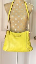 kate Spade Yellow Pebble Leather Shoulder Handbag.