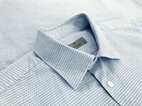 Current Canali 1934 Mens 100% Cotton Button Up Dress Shirt Blue Dots Size 17