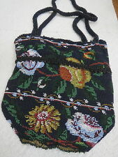 Vtg 1880s Micro Glass Beaded Purse Flowers Design Lined Black and Bright Colors