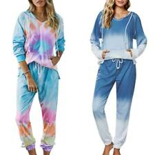 Women Tracksuit Set Hooded Sweatshirt Pants Tie Dye Pullover Hoodie Loungewear