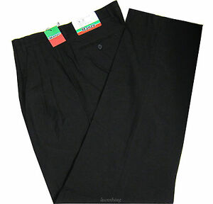New Men's Dress Pants Slacks Polyester Sewn On Crease Pleated Black formal work