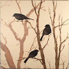 Fabrice de Villeneuve 'Birds Collection 1' Giclee Canvas Painting Art. 1x1m