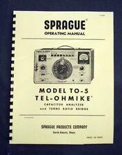 SPRAGUE TO-5 TO5 Tel-Ohmike Capacitor Analyzer Manual