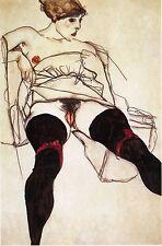Egon Schiele Reproductions: Woman with Black Stockings - Fine Art Print