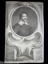 Original Jacobus Houbraken 1744 Francis Lord Cottington Portrait Engraving RARE