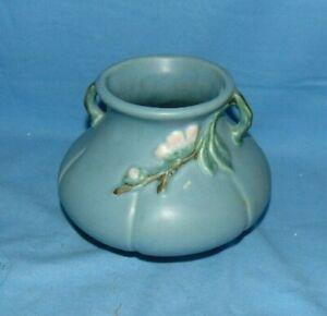 Weller Pot Rudlor Matte Blue White Flower Vintage Mark