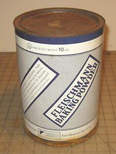 "Vintage FLEISCHMANN Baking Powder 9 & 1/4"" Tall 10lb Empty Tin - Nabisco Foods"