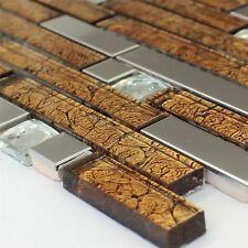 Edelstahl Mosaik Fliesen Glasmosaik Metall-Mosaik Diamant Braun
