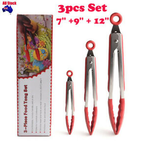 """3PCS Set 7""""+9''+12'' Stainless Steel Kitchen Tongs Silicon BBQ Silicone Tongs"""