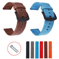 22mm 24mm 18mm 20mm Retro PU Leather Strap Black Buckle Band Watch Bracelet Pins