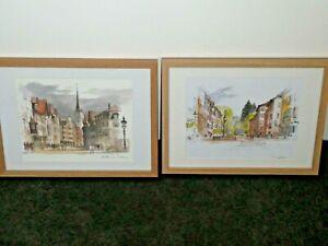 2 Altstatten Switzerland Framed Prints by Mads Stage Danish Painter Signed