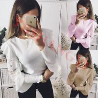 Women Ladies Ruffle Sleeve Lace Long Sleeve Tops Blouse Shirt UK Size 8 10 12 14