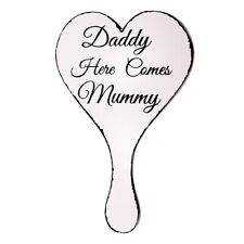 Daddy Here Comes Mummy Aisle Sign Wooden Large Heart Plaque Wedding Decor W