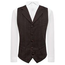 Luxury Herringbone Chocolate Brown Waistcoat, Tweed, Tailored Fit