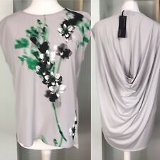 M&S Silver Grey Floral Panel Front Draped Back Top Size 12 BNWT £35 Tunic