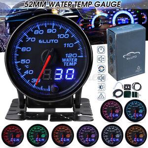 Eluto 2'' 52mm Digital Pointer Water Temp Temperature Gauge Sensor 10 Colors 12v
