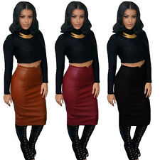 2015 Sexy Women PU Leather Long Skirt High Waist Slim Hip Bodycon Clubwear Skirt