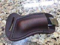 LH Cross Draw Buffalo leather knife sheath  Dark oil rustic. Buck 110 Sodbuster