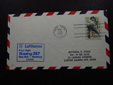 FFC Cover US Lufthansa Birds First Flight Boeing 747 NY Hamburg LH 401 1970