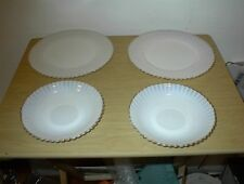 "4 Vintage Swirl White Blue tint Gold Trim Plate 2 6""cup plates 2 8""desert U.S.A"