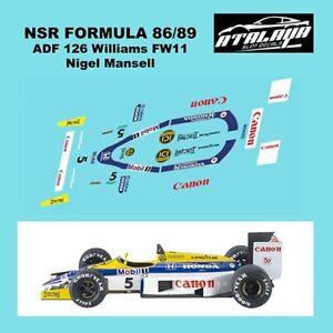 Atalaya Decals ADF126 NSR Formula 86/89 1987 Williams Honda FW11 slot car decals