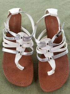 Madden Girl Strappy Wedge Sandal Size 9.5 White Silver