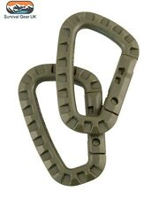 x2 TACTICAL CARABINA ABS RUCKSACK MOLLE UTILITY CLIP BRITISH ARMY HIKING GREEN
